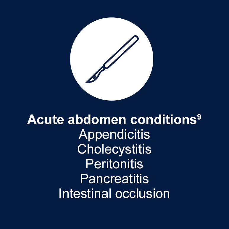 Acute hepatic porphyria can show similar symptoms to acute abdomen conditions such as appendicitis, cholecystitis, peritonitis, pancreatitis, and intestinal occlusion